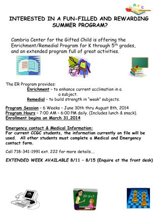 INTERESTED IN A FUN-FILLED AND REWARDING  SUMMER PROGRAM?