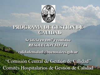 PROGRAMA DE GESTION DE CALIDAD Se inicia en 1997 y continua RESOLUCION 818 / 04