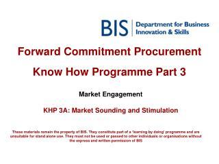 Forward Commitment Procurement  Know How Programme Part 3