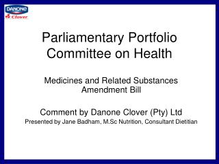 Parliamentary Portfolio Committee on Health