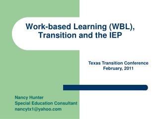 Work-based Learning (WBL), Transition and the IEP