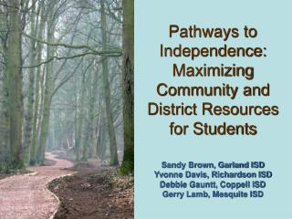 Pathways to Independence: Maximizing Community and District Resources for Students