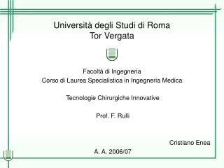 Universit� degli Studi di Roma Tor Vergata