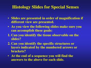 Histology Slides for Special Senses