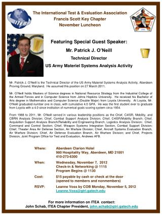 The  International Test & Evaluation  Association  Francis  Scott Key  Chapter November Luncheon