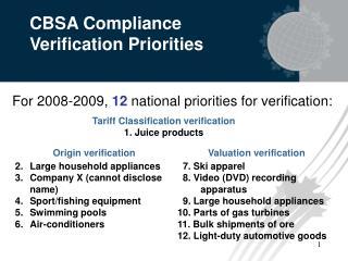 CBSA Compliance Verification Priorities