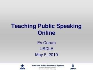 Teaching Public Speaking Online