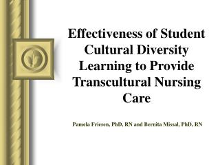 Effectiveness of Student Cultural Diversity Learning to Provide Transcultural Nursing Care