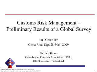 Customs Risk Management – Preliminary Results of a Global Survey