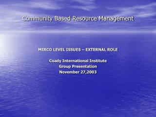 Community Based Resource Management