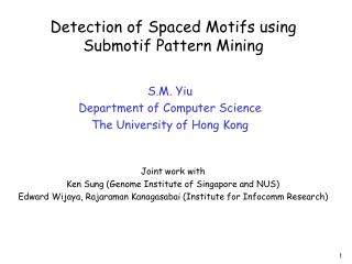Detection of Spaced Motifs using Submotif Pattern Mining