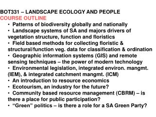 BOT331 – LANDSCAPE ECOLOGY AND PEOPLE COURSE OUTLINE