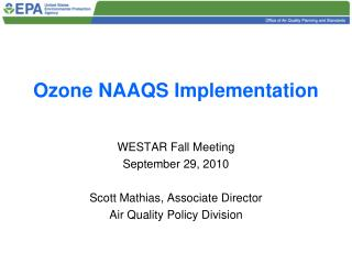 Ozone NAAQS Implementation