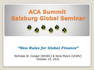 ACA Summit  Salzburg Global Seminar