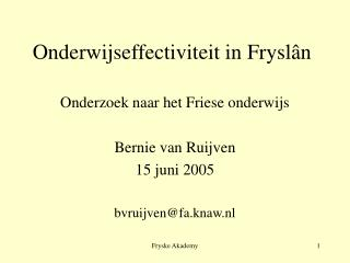 Onderwijseffectiviteit in Fryslân