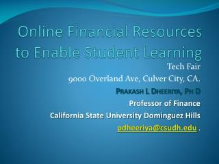 Online Financial Resources to Enable Student Learning