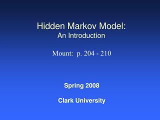 Hidden Markov Model: An Introduction
