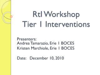 RtI Workshop Tier 1 Interventions