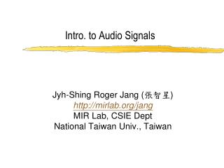Intro. to Audio Signals