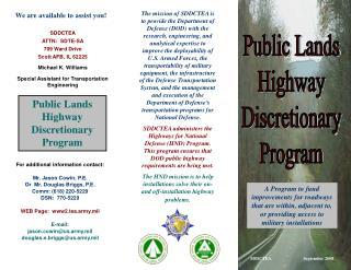 Public Lands Highway Discretionary Program