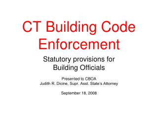 CT Building Code Enforcement