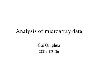 Analysis of microarray data
