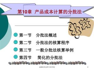第一节 分批法概述  第二节 分批法的核算程序  第三节 一般分批法核算举例 第四节    简化的分批法