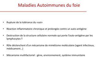 Maladies Autoimmunes du foie