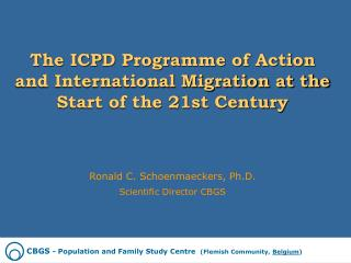 The ICPD Programme of Action and International Migration at the Start of the 21st Century