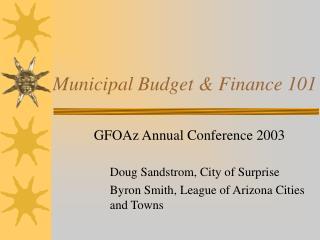 Municipal Budget  Finance 101