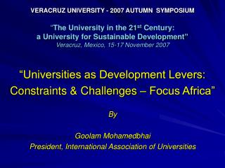 """Universities as Development Levers: Constraints & Challenges – Focus Africa"" By"