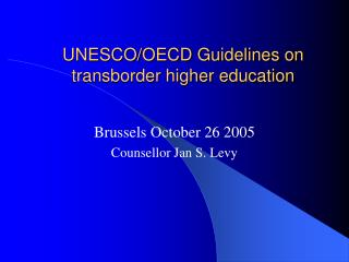 UNESCO/OECD Guidelines on transborder higher education