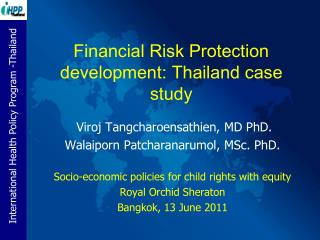 Financial Risk Protection development: Thailand case study