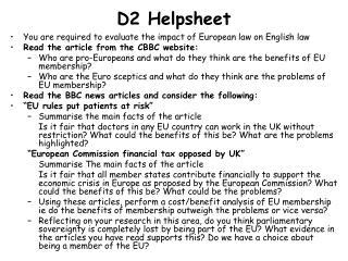 D2 Helpsheet