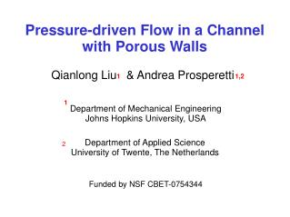 Pressure-driven Flow in a Channel with Porous Walls