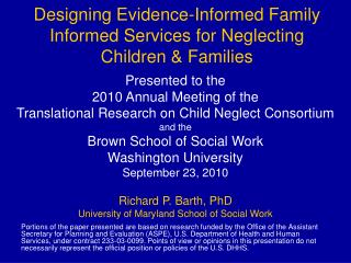 Designing Evidence-Informed Family Informed Services for Neglecting Children & Families