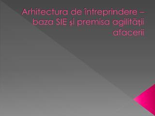 Arhitectura  de  întreprindere – baza SIE și premisa agilității afacerii