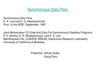 Synchronous Data Flow