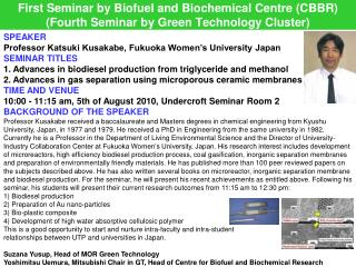 SPEAKER Professor Katsuki Kusakabe, Fukuoka Women's University Japan SEMINAR TITLES