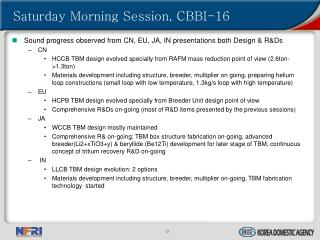Saturday Morning Session, CBBI-16