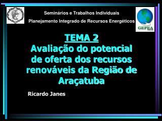 TEMA 2 Avaliação do potencial de oferta dos recursos renováveis da Região de Araçatuba