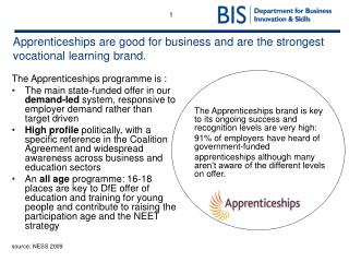 Apprenticeships are good for business and are the strongest vocational learning brand.