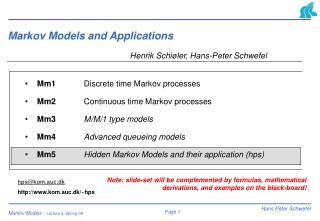 Markov Models and Applications
