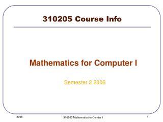 310205 Course Info