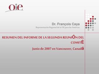 RESUMEN DEL INFORME DE LA SEGUNDA REUNI Ó N DEL COMIT É Junio de 2007 en Vancouver, Canad á