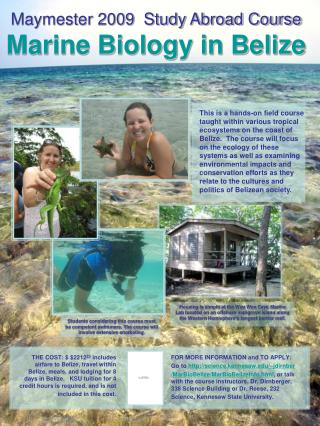 Maymester 2009  Study Abroad Course Marine Biology in Belize