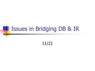 Issues in Bridging DB  IR