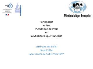 Partenariat  entre l'Académie de Paris et la Mission laïque française