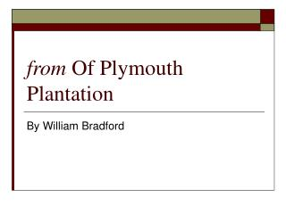 from  Of Plymouth Plantation
