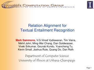 Relation Alignment for  Textual Entailment Recognition
